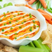 Slow cooker buffalo chicken dip with celery, crackers, carrots and chips