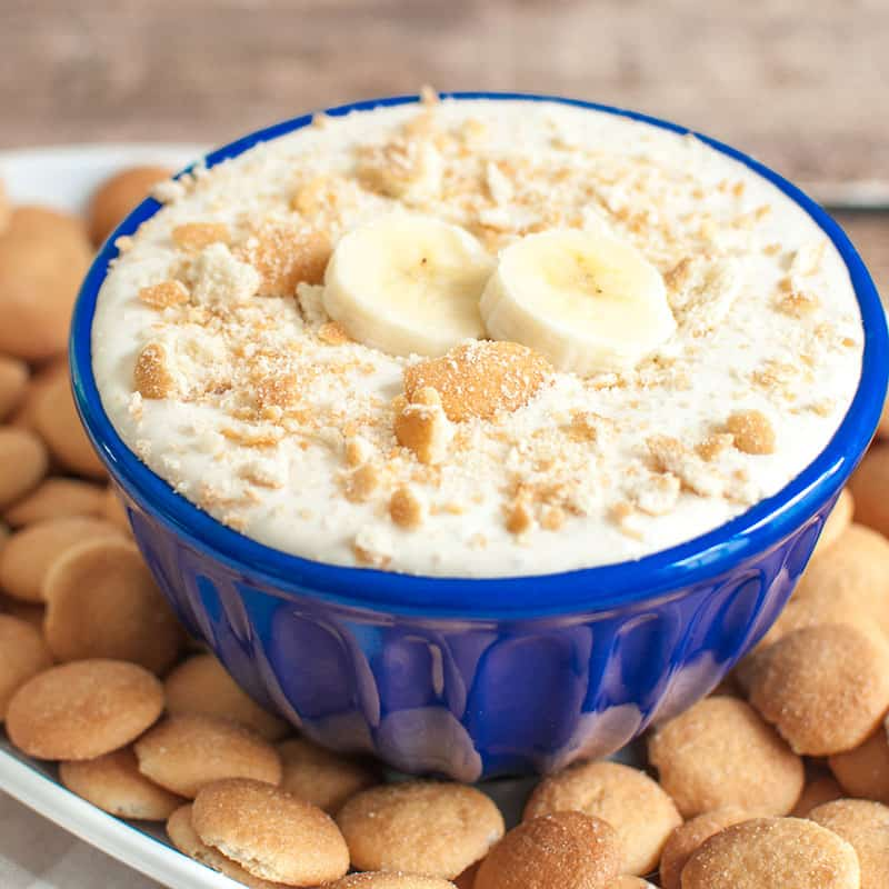 Bowl of banana pudding dip with vanilla wafers
