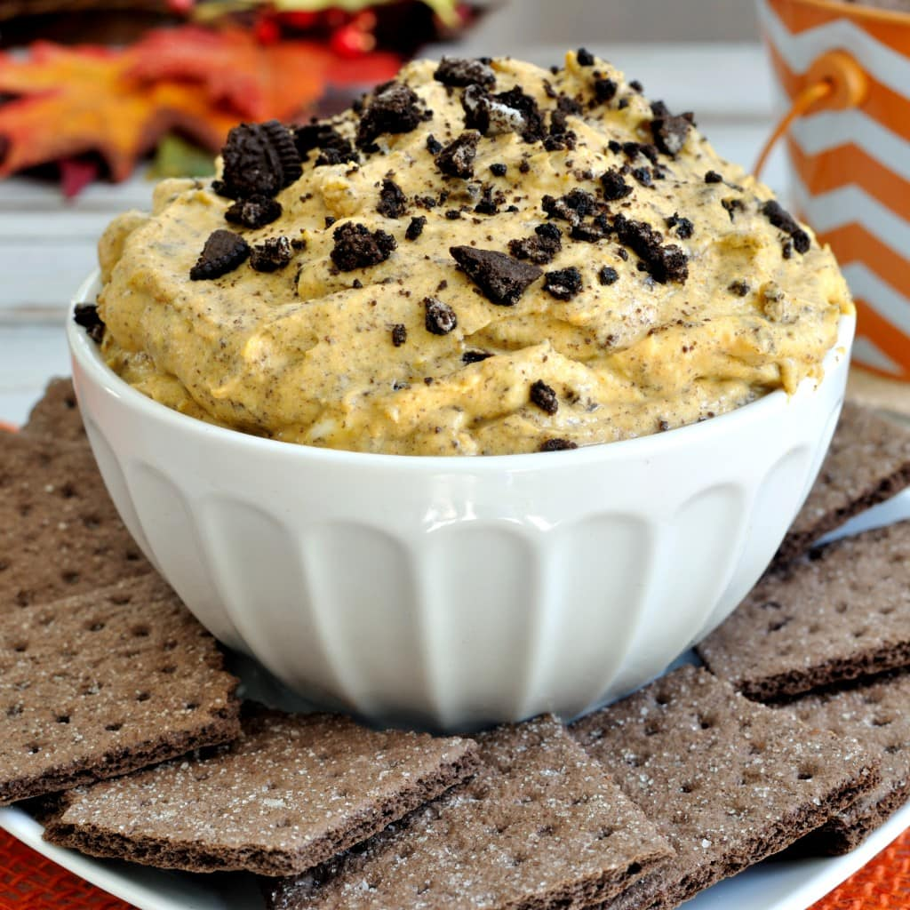 pumpkin dip recipe with crushed oreos and white chocolate chips great dessert dip for halloween