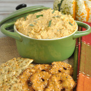 Easy dip recipe makes a great Thanksgiving appetizer. This white cheddar, pumpkin, and sage dip is perfect for any fall gathering. Serve with crackers.