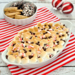Chocolate and toasted marshmallows get a Christmas time twist with the flavor of peppermint in this peppermint s'mores dip. Great dessert for the holidays.
