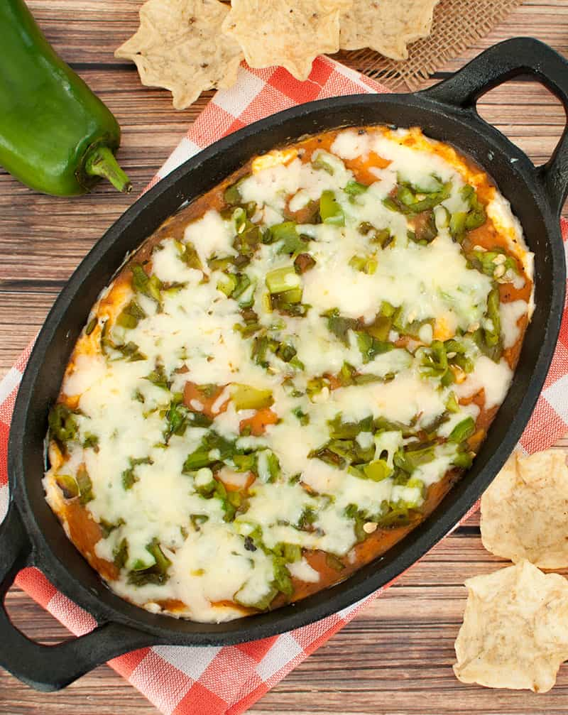 Baked Chile Relleno Dip with tortilla chips