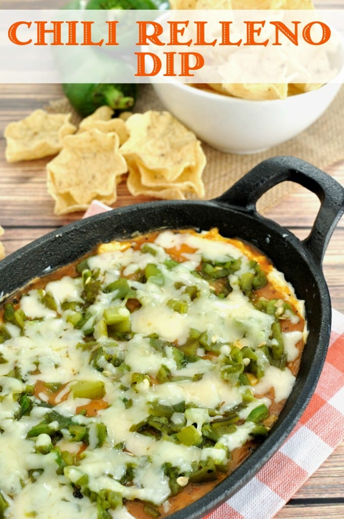 Chili Relleno Dip- Easy dip recipe inspired by the popular Mexican dish. Makes a great appetizer for a Cinco de Mayo or other Mexican themed party.