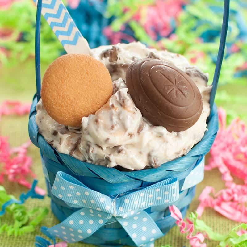 Bowl of Cadbury Creme Egg Dip inside a small blue Easter basket
