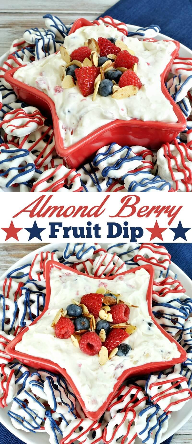 Almond Berry Fruit Dip- a festive dessert for the 4th of July. Dip combines the flavor of almond with berries and cream cheese for a patriotic and easy recipe.