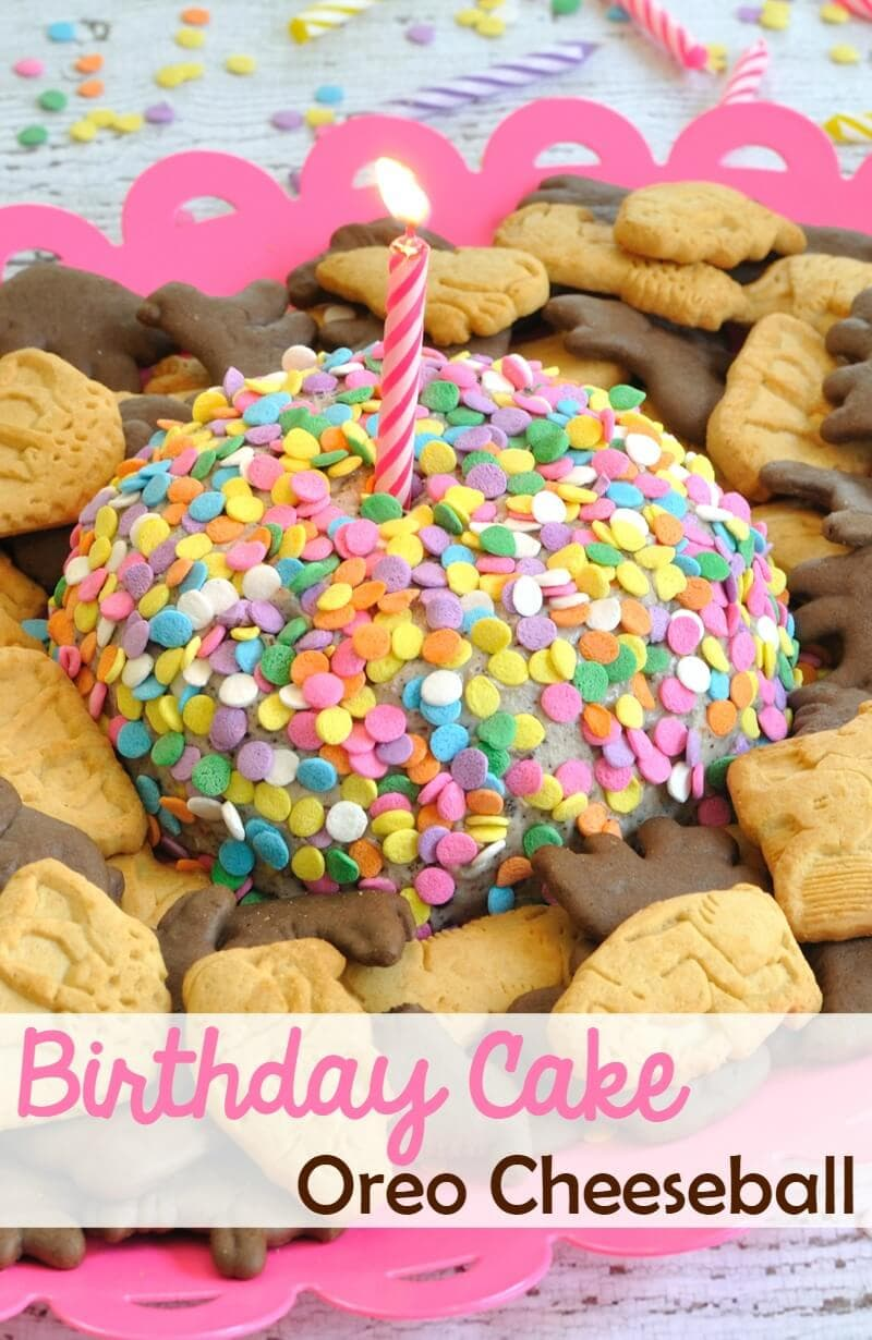 This Birthday Cake Oreo Cheeseball is a great idea for a birthday party! Made with Birthday Cake Oreos and served with animal crackers.