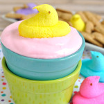 asy dessert dip recipe for Easter. Peeps Marshmallow Fluff Dip is a great way to use up extra Peeps. Serve with fruit or graham crackers. Fun for kids.
