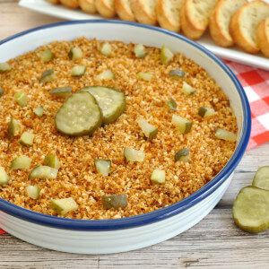 A spicy chicken dip with crunchy topping and pickles This Nashville Hot Chicken Dip makes an easy appetizer sure to please the spicy food fans in your crowd