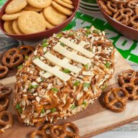 BBQ Pretzel Football Cheese Ball
