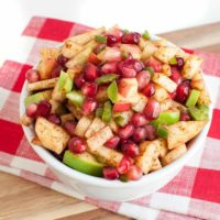 Apple Salsa with Pomegranate seeds in a bowl on a napkin