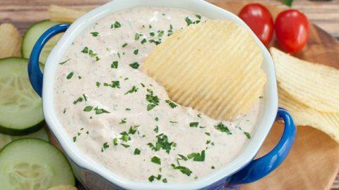 Easy Sour Cream Dip for Chips or Veggies - Dip Recipe Creations