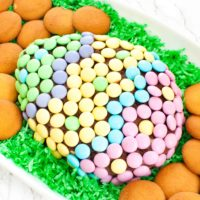 chocolate Easter cheese ball with M&Ms on edible Easter grass
