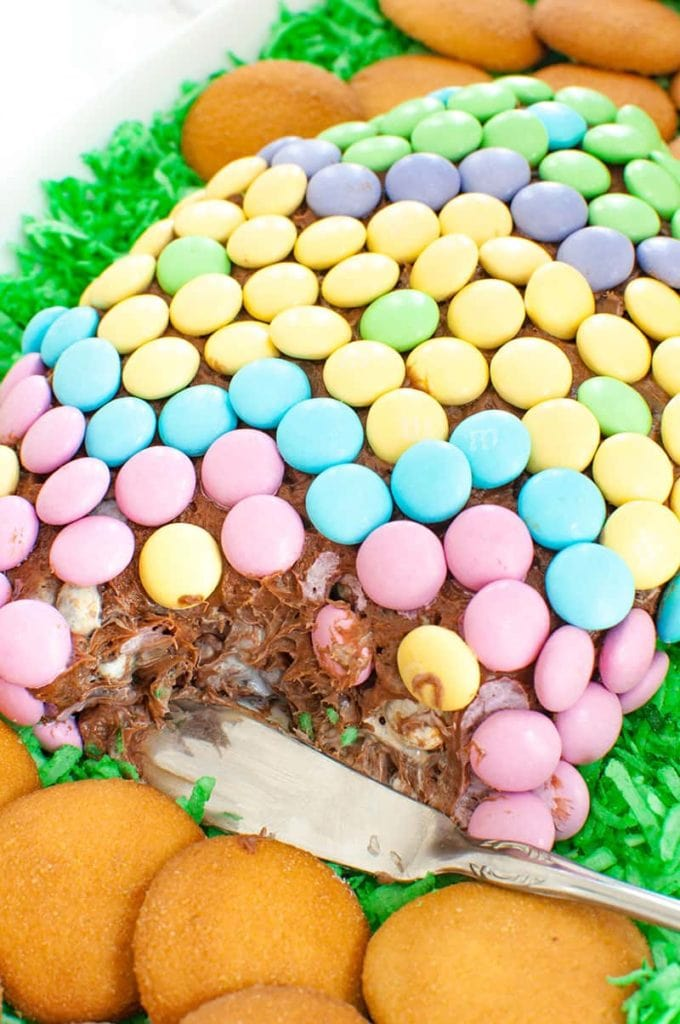 cut chocolate easter cheese ball with spreader