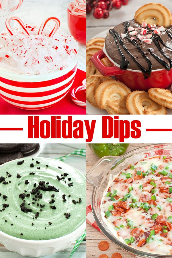 collage of holiday dip recipes