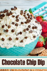 teal blue bowl of chocolate chip dip