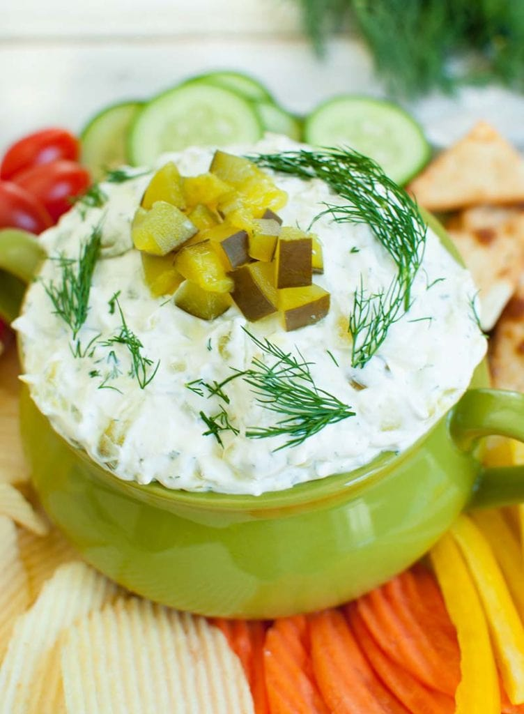 green bowl with dill pickle dip