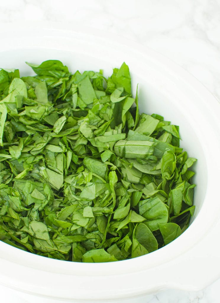 fresh spinach in slow cooker