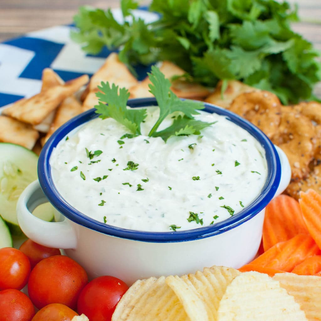 garlic dip in a white bowl with a blue rim