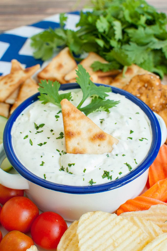 white bowl with blue rim of garlic dip with cracker dipped in