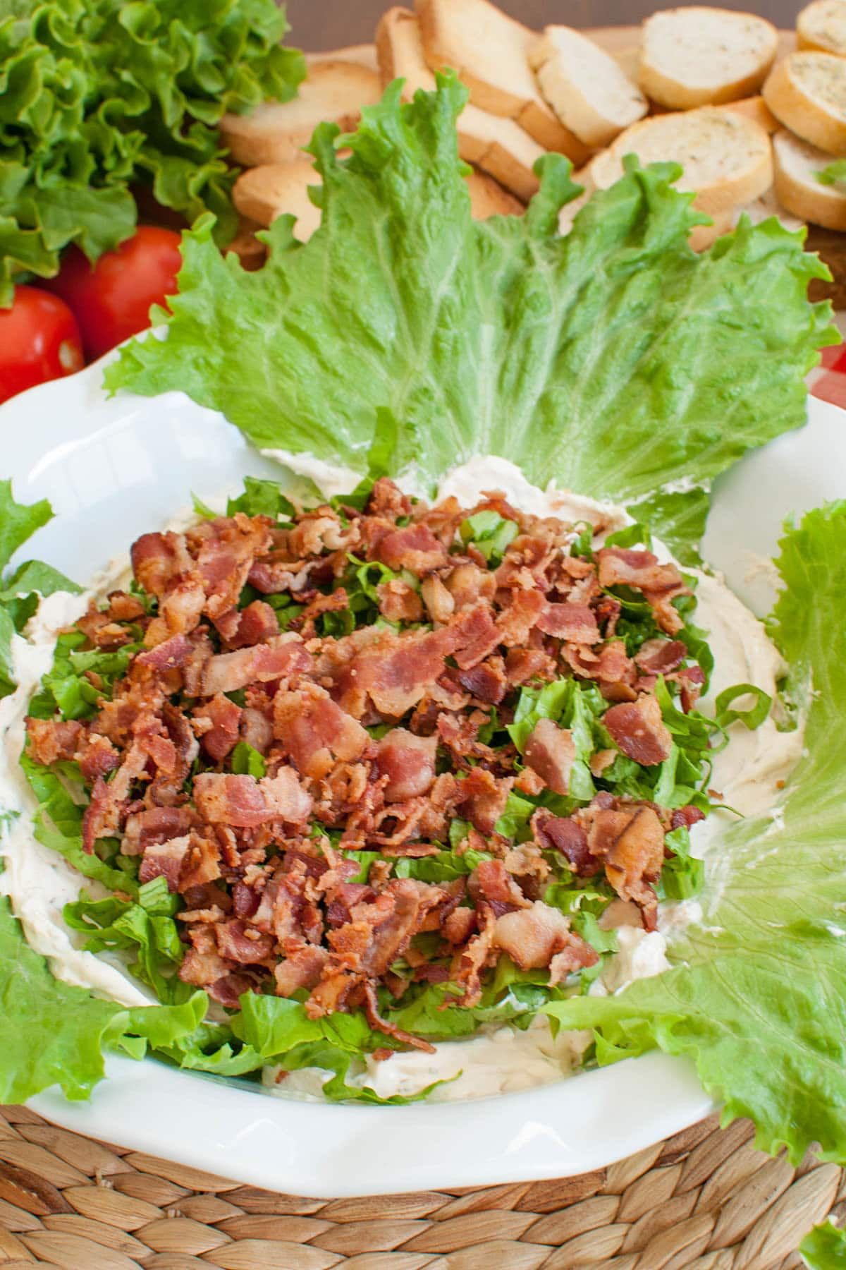 layer of bacon added to dish