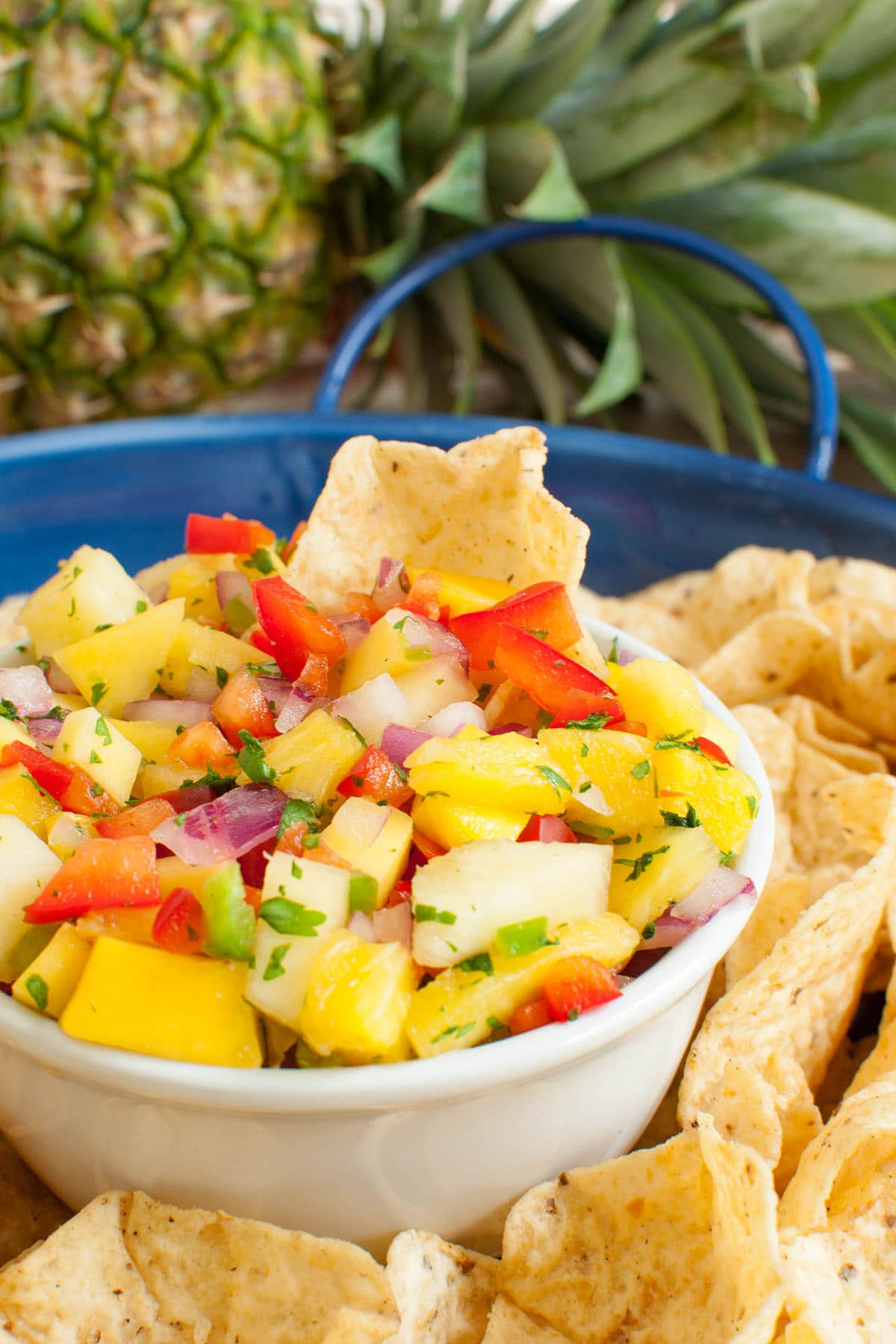 chip dipped into bowl of pineapple mango salsa