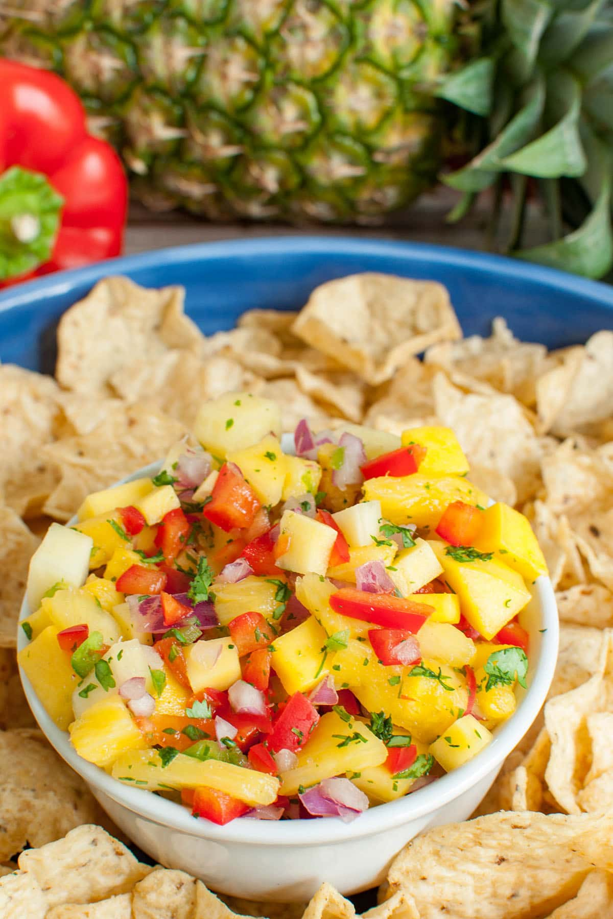 bowl of salsa with chips on a blue platter with a red pepper and pineapple in the background